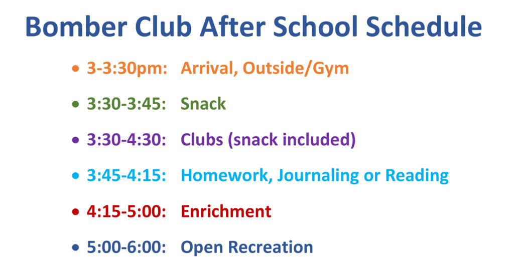 Bomber Club After School Schedule